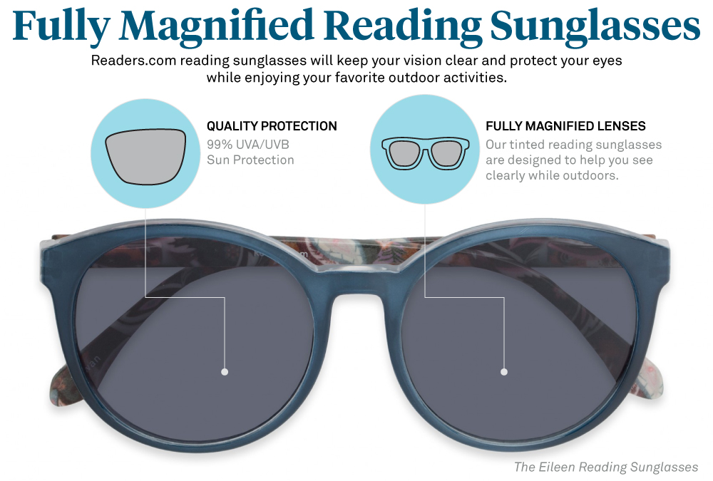 2e7a74188e4 Fully magnified reading sunglasses have your magnification throughout the entire  lens and therefore have the widest line of vision
