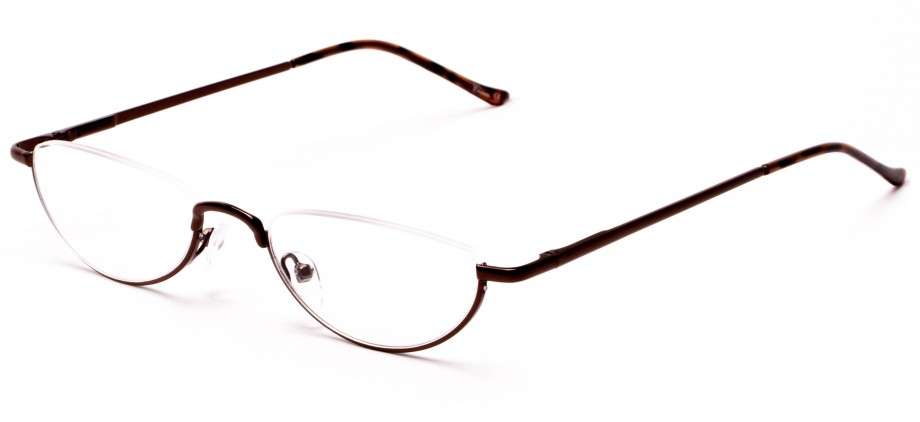 Half Frame Semi-Rimless Bronze Reading Glasses
