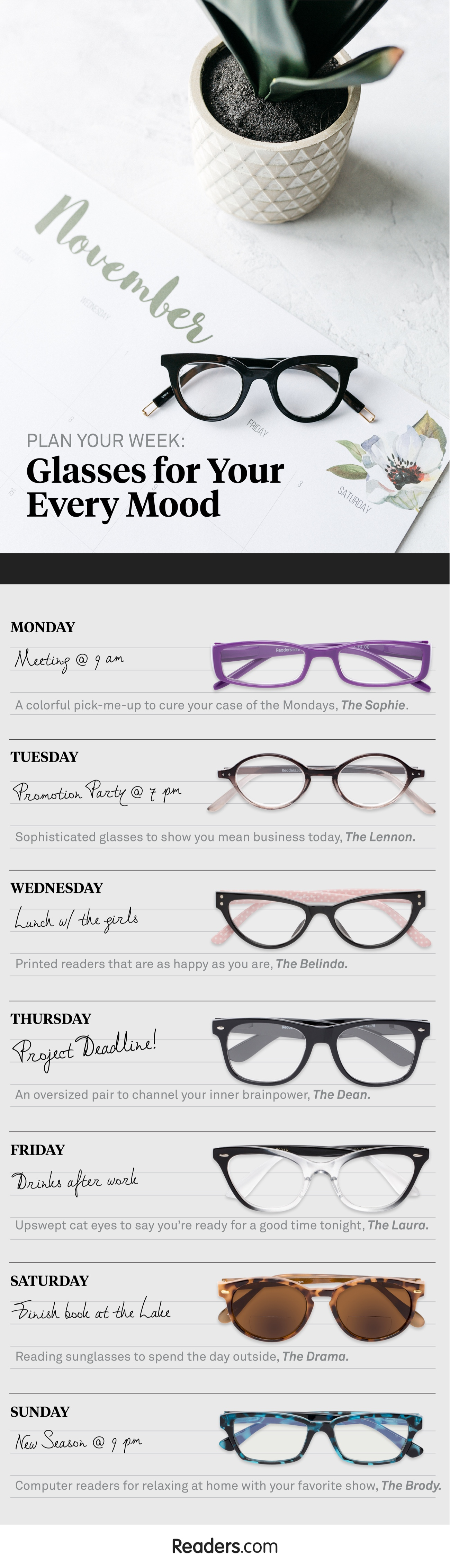 Reading Glasses for Every Day of the Week