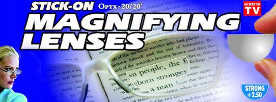 DIY stick-on magnifying lenses