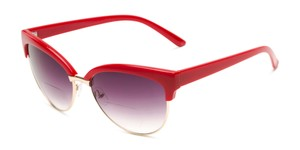 Angle of The Coconut Bifocal Reading Sunglasses in Red/Gold with Smoke, Women's Browline Reading Sunglasses