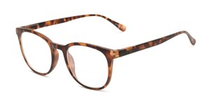 Angle of The Norwich Bifocal in Matte Brown Tortoise, Women's and Men's Round Reading Glasses