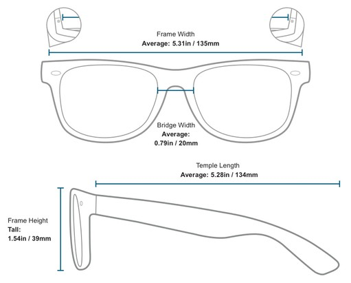 Frame Measurements #1 of The Key West Reading Sunglasses