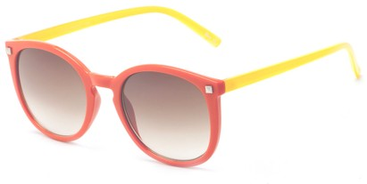 Angle of The Bonnington Unmagnified Sunglasses in Orange/Yellow with Amber, Women's Round Sunglasses