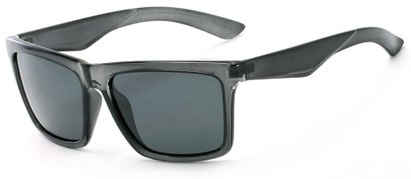 Angle of The Higgins Unmagnified Sunglasses in Glossy Grey with Smoke, Women's and Men's Retro Square Sunglasses