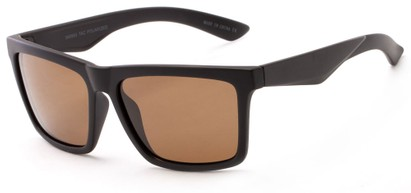 Angle of The Higgins Unmagnified Sunglasses in Matte Black with Brown, Women's and Men's Retro Square Sunglasses