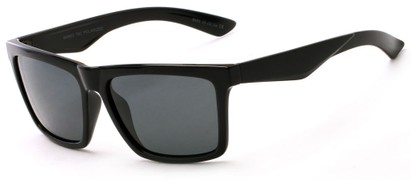 Angle of The Higgins Unmagnified Sunglasses in Glossy Black with Smoke, Women's and Men's Retro Square Sunglasses