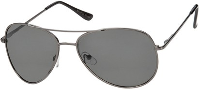 Angle of The Firebird Unmagnified Sunglasses in Grey Frame with Smoke, Women's and Men's Aviator Sunglasses