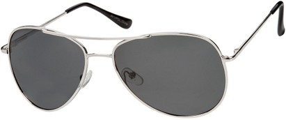 Angle of The Firebird Unmagnified Sunglasses in Silver Frame with Smoke, Women's and Men's Aviator Sunglasses