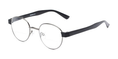 Angle of The Abel Bifocal in Grey/Black, Women's and Men's Round Reading Glasses