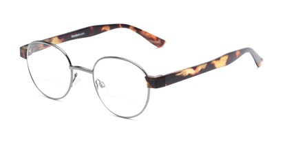 Angle of The Abel Bifocal in Grey/Tortoise, Women's and Men's Round Reading Glasses