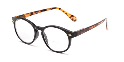 Angle of The Actor Bifocal in Black and Tortoise, Women's and Men's Round Reading Glasses