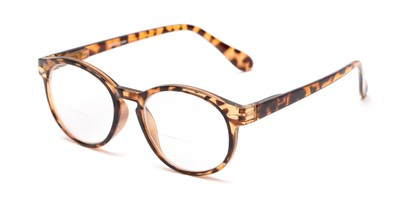 Angle of The Actor Bifocal in Dark Brown Tortoise, Women's and Men's Round Reading Glasses