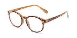 Angle of The Actor Bifocal in Light Brown Tortoise, Women's and Men's Round Reading Glasses