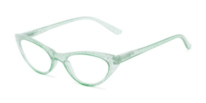 Angle of The Ada in Clear Green, Women's Cat Eye Reading Glasses