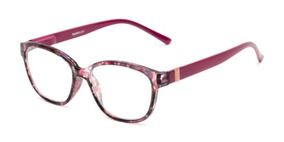 Angle of The Adele in Tortoise/Pink, Women's Retro Square Reading Glasses