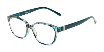 Angle of The Adele in Tortoise/Teal Blue, Women's Retro Square Reading Glasses