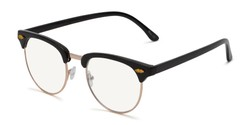 Angle of The Adrian Computer Reader in Black with Light Yellow, Women's and Men's Browline Reading Glasses