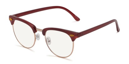Angle of The Adrian Computer Reader in Dark Red with Light Yellow, Women's and Men's Browline Reading Glasses