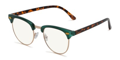 Angle of The Adrian Computer Reader in Green/Tortoise with Light Yellow, Women's and Men's Browline Reading Glasses