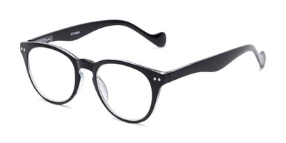 Angle of The Agnes in Black, Women's and Men's Round Reading Glasses