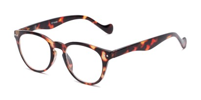Angle of The Agnes in Brown Tortoise, Women's and Men's Round Reading Glasses