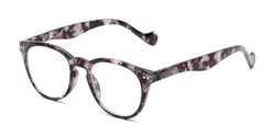 Angle of The Agnes in Grey Tortoise, Women's and Men's Round Reading Glasses