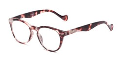 Angle of The Agnes in Pink Tortoise, Women's and Men's Round Reading Glasses