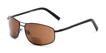 Angle of The Albany Bifocal Reading Sunglasses in Matte Black with Amber, Women's and Men's Aviator Reading Sunglasses