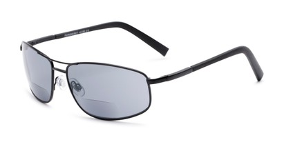 Angle of The Albany Bifocal Reading Sunglasses in Matte Black with Smoke, Women's and Men's Aviator Reading Sunglasses