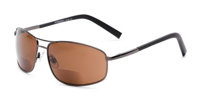 Angle of The Albany Bifocal Reading Sunglasses in Glossy Grey with Amber, Women's and Men's Aviator Reading Sunglasses