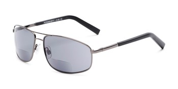 05836152cd Angle of The Albany Bifocal Reading Sunglasses in Glossy Grey with Smoke