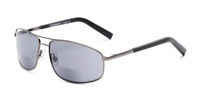 Angle of The Albany Bifocal Reading Sunglasses in Glossy Grey with Smoke, Women's and Men's Aviator Reading Sunglasses