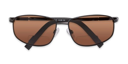 Folded of The Albany Bifocal Reading Sunglasses in Matte Black with Amber