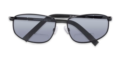 Folded of The Albany Bifocal Reading Sunglasses in Matte Black with Smoke