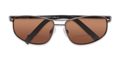 Folded of The Albany Bifocal Reading Sunglasses in Glossy Grey with Amber