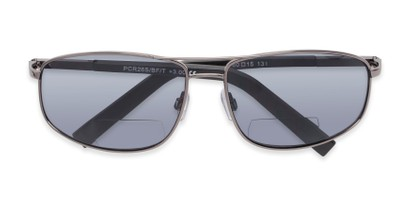 Folded of The Albany Bifocal Reading Sunglasses in Glossy Grey with Smoke
