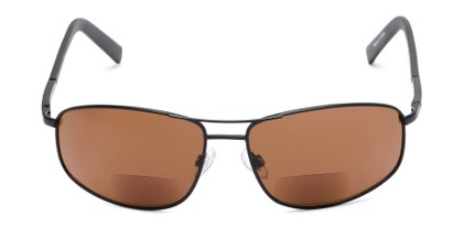 Front of The Albany Bifocal Reading Sunglasses in Matte Black with Amber