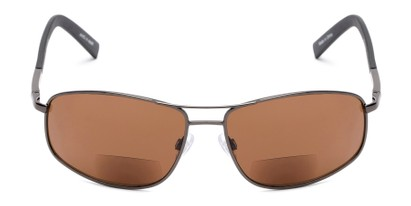 Front of The Albany Bifocal Reading Sunglasses in Glossy Grey with Amber
