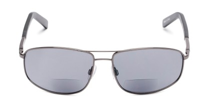 Front of The Albany Bifocal Reading Sunglasses in Glossy Grey with Smoke