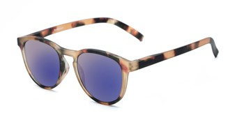 c94ff70c292 Angle of The Alex Reading Sunglasses in Matte Tortoise with Blue Mirror
