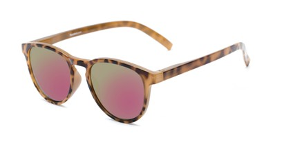 Angle of The Alex Reading Sunglasses in Glossy Tortoise with Pink Mirror, Women's and Men's Retro Square Reading Sunglasses