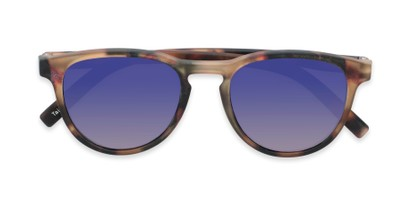 Folded of The Alex Reading Sunglasses in Matte Tortoise with Blue Mirror