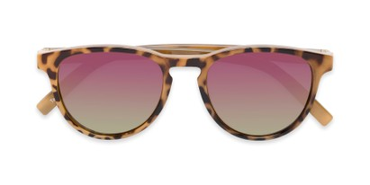 Folded of The Alex Reading Sunglasses in Glossy Tortoise with Pink Mirror