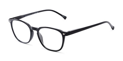 Angle of The Alistair in Glossy Black, Women's and Men's Retro Square Reading Glasses