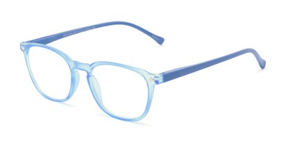Angle of The Alistair in Matte Blue, Women's and Men's Retro Square Reading Glasses