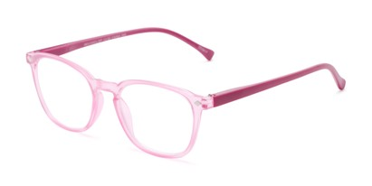 Angle of The Alistair in Matte Pink, Women's and Men's Retro Square Reading Glasses