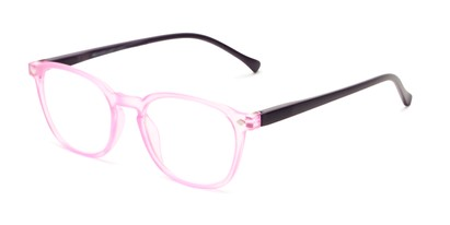 Angle of The Alistair in Matte Pink and Purple, Women's and Men's Retro Square Reading Glasses