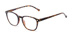 Angle of The Alistair in Glossy Tortoise, Women's and Men's Retro Square Reading Glasses