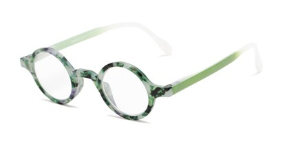 Angle of The Alta in Green Tortoise, Women's and Men's Round Reading Glasses